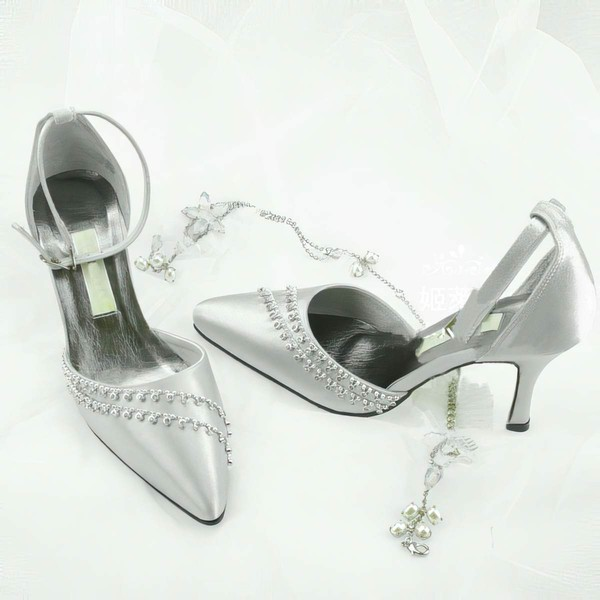 Women's Patent Leather with Buckle Crystal Stiletto Heel Pumps Closed Toe
