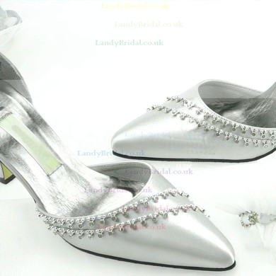 Women's Patent Leather with Buckle Crystal Stiletto Heel Pumps Closed Toe #LDB03030019