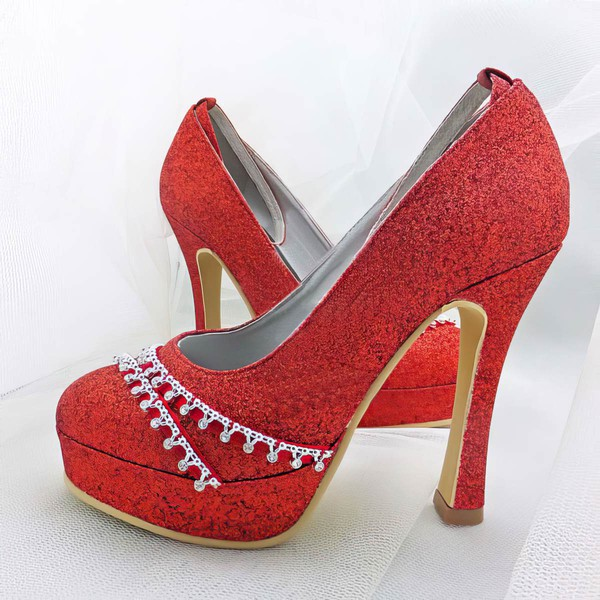 Women's Sparkling Glitter with Buckle Crystal Stiletto Heel Pumps Closed Toe Platform #LDB03030020