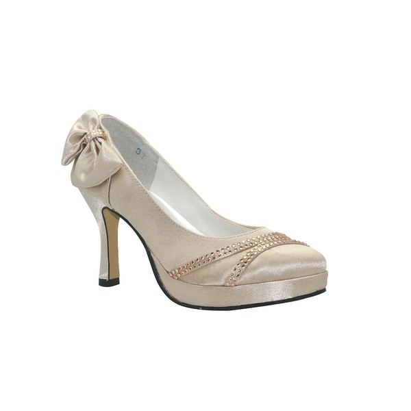 Women's Satin with Bowknot Beading Spool Heel Pumps Closed Toe Platform