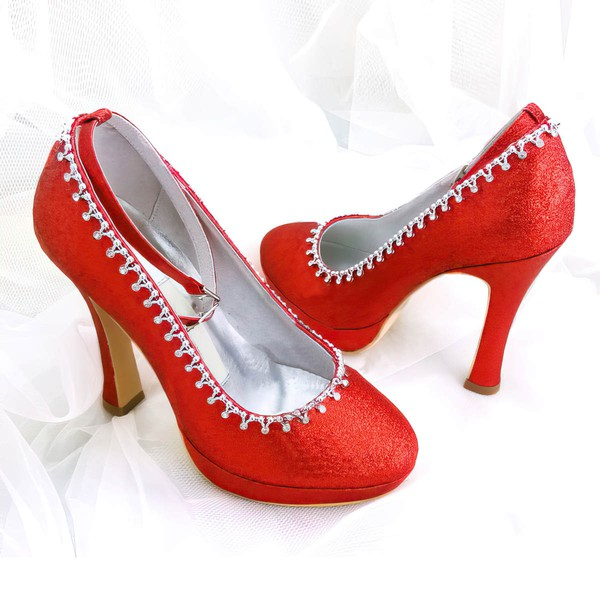 Women's Sparkling Glitter with Buckle Crystal Stiletto Heel Pumps Closed Toe Platform #LDB03030024