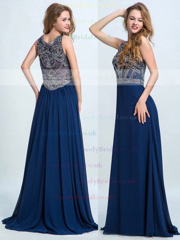 Juniors Chiffon Tulle with Beading Champagne Scoop Neck Long Prom Dress #LDB02017391