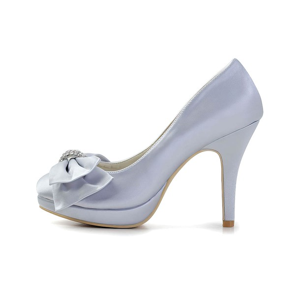 Women's Satin with Bowknot Crystal Stiletto Heel Pumps Closed Toe Platform #LDB03030025