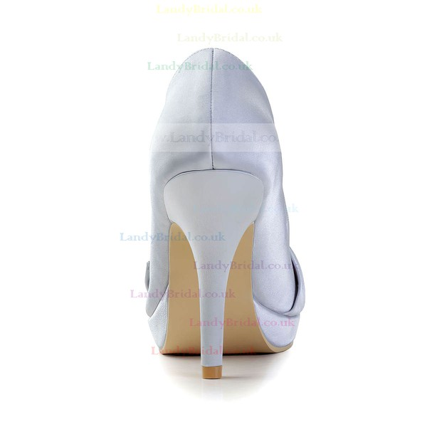 Women's Satin with Bowknot Crystal Stiletto Heel Pumps Closed Toe Platform