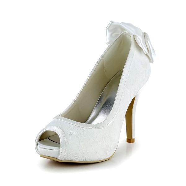 Women's Lace with Bowknot Stiletto Heel Pumps Peep Toe Platform #LDB03030026