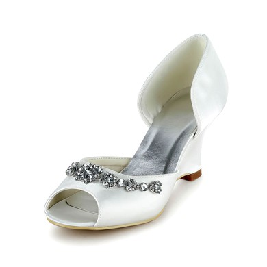 Women's Satin with Crystal Wedge Heel Pumps Sandals #LDB03030028