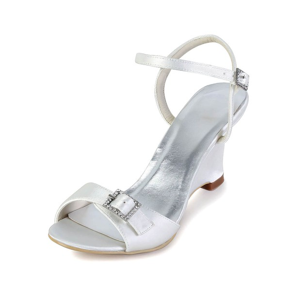 Women's Satin with Buckle Crystal Wedge Heel Pumps Sandals Wedges #LDB03030029