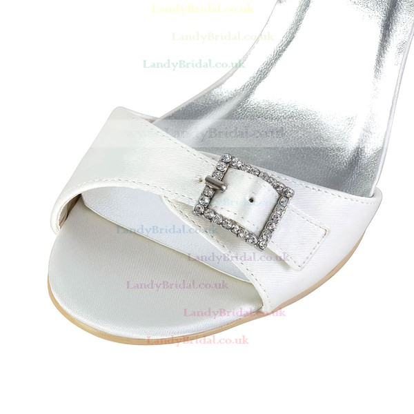 Women's Satin with Buckle Crystal Wedge Heel Pumps Sandals Wedges