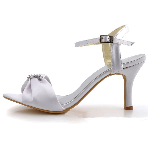 Women's Satin with Buckle Crystal Stiletto Heel Pumps Sandals #LDB03030030
