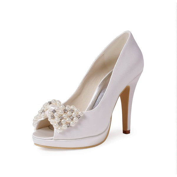 Women's Satin with Crystal Pearl Stiletto Heel Pumps Peep Toe Platform #LDB03030031