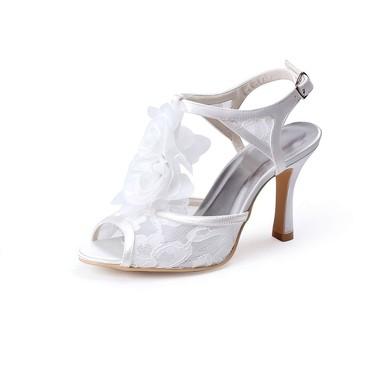Women's Lace with Buckle Flower Spool Heel Pumps Sandals Peep Toe #LDB03030032