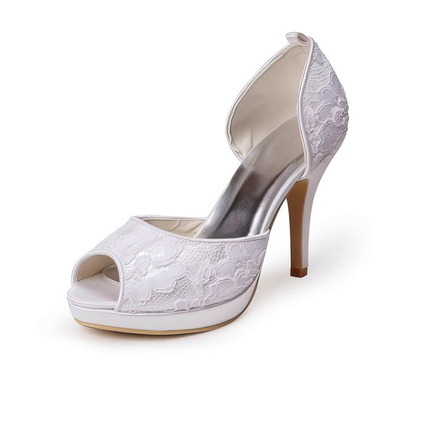 Women's Lace   Stiletto Heel Platform Peep Toe Pumps #LDB03030033