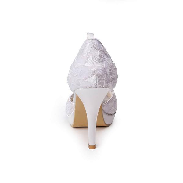 Women's Lace   Stiletto Heel Platform Peep Toe Pumps