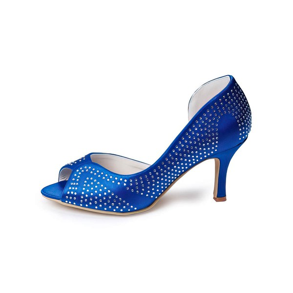 Women's Satin   Spool Heel Pumps Peep Toe #LDB03030034