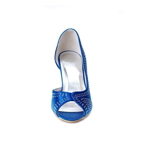 Women's Satin   Spool Heel Pumps Peep Toe