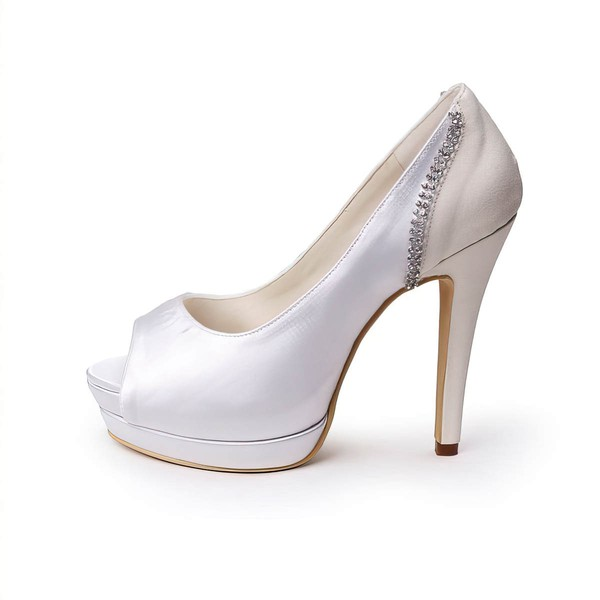 Women's Satin with Crystal Stiletto Heel Pumps Peep Toe Platform #LDB03030035