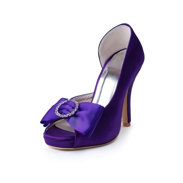 Women's Satin with Bowknot Crystal Stiletto Heel Pumps Peep Toe Platform #LDB03030036