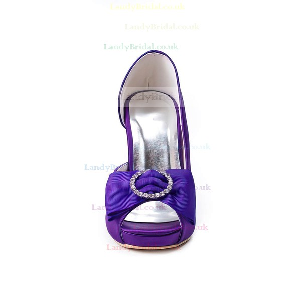 Women's Satin with Bowknot Crystal Stiletto Heel Pumps Peep Toe Platform