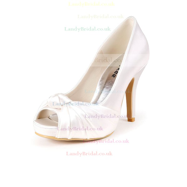 Women's Satin with Ruffles Stiletto Heel Pumps Peep Toe Platform