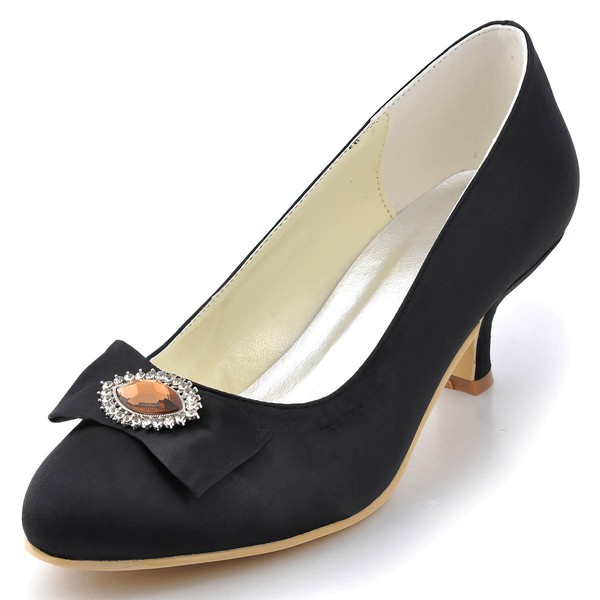 Women's Satin with Crystal Chunky Heel Pumps Closed Toe