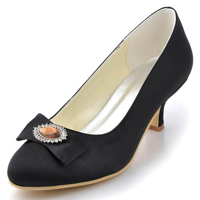Women's Satin with Crystal Chunky Heel Pumps Closed Toe #LDB03030039