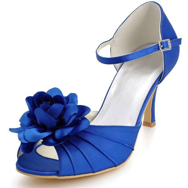 Women's Satin with Buckle Flower Spool Heel Pumps Peep Toe #LDB03030040
