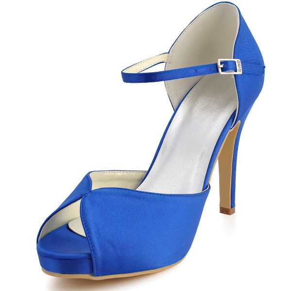 Women's Satin with Buckle Stiletto Heel Pumps Peep Toe Platform #LDB03030041