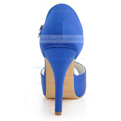 Women's Satin with Buckle Stiletto Heel Pumps Peep Toe Platform #LDB03030041