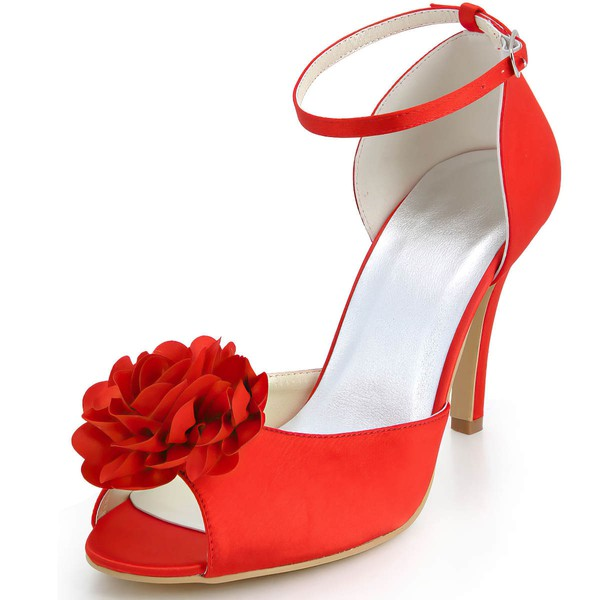 Women's Satin with Buckle Flower Stiletto Heel Pumps Peep Toe #LDB03030042