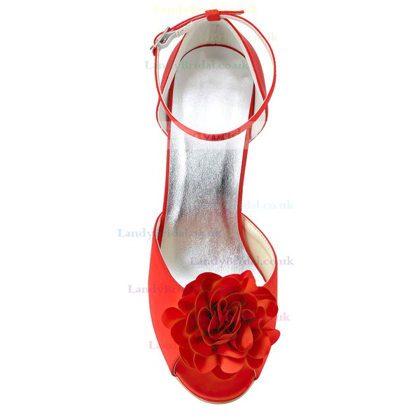 Women's Satin with Buckle Flower Stiletto Heel Pumps Peep Toe
