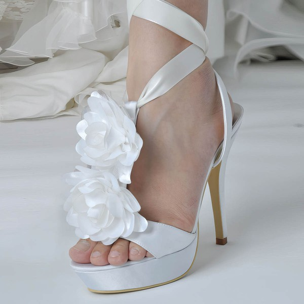 Women's Satin with Flower Ribbon Tie Stiletto Heel Pumps Platform #LDB03030043