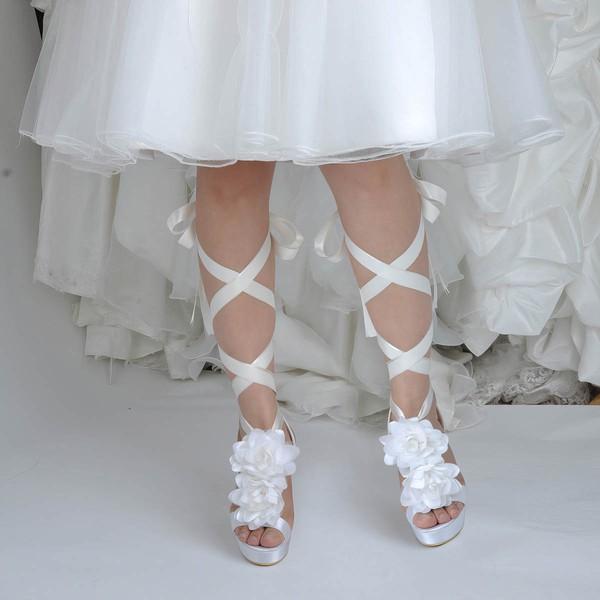 Women's Satin with Flower Ribbon Tie Stiletto Heel Pumps Platform