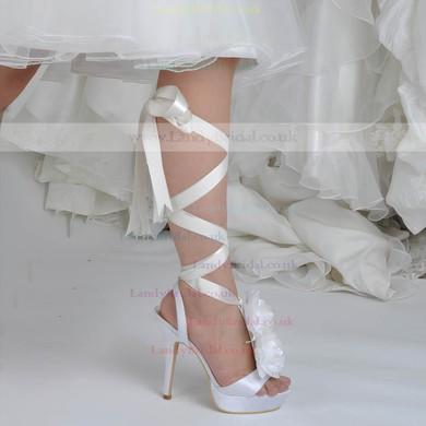 Women's Satin with Flower Ribbon Tie Stiletto Heel Pumps Platform #LDB03030043
