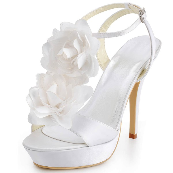 Women's Satin with Buckle Flower Stiletto Heel Pumps Platform