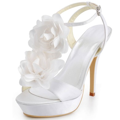 Women's Satin with Buckle Flower Stiletto Heel Pumps Platform #LDB03030044