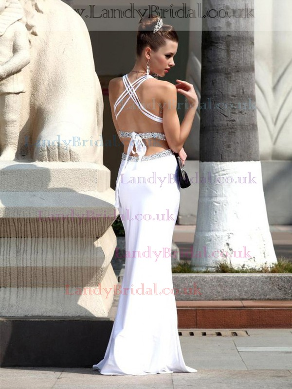 Good Trumpet/Mermaid V-neck White Chiffon Beading Open Back Prom Dress #LDB02017424