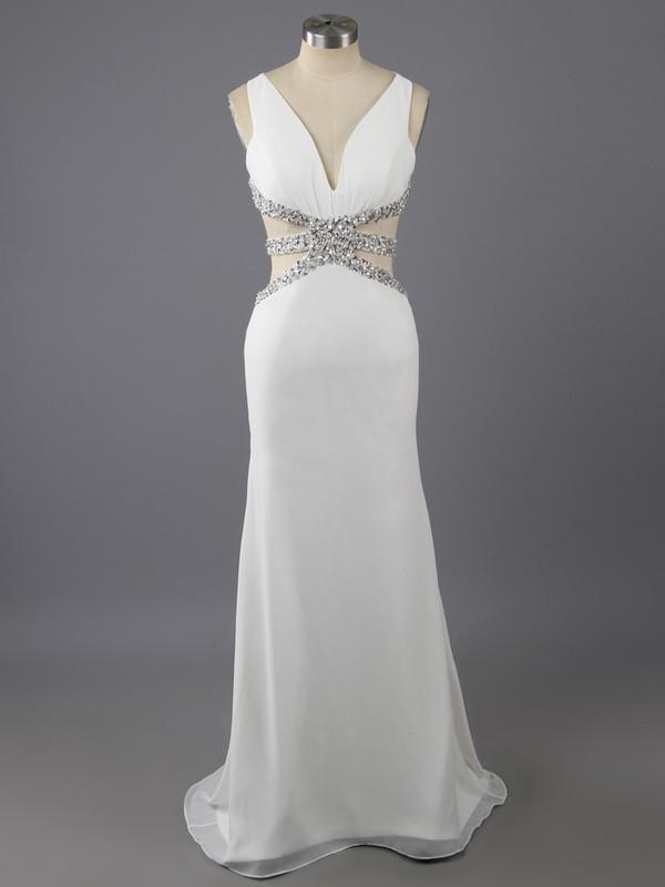 Good Trumpet/Mermaid V-neck White Chiffon Beading Open Back Prom Dress #LDB02017424