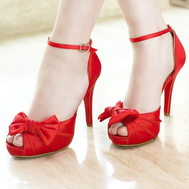 Women's Satin with Buckle Bowknot Stiletto Heel Pumps Peep Toe Platform #LDB03030045