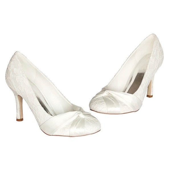 Women's Satin with Ruched Stiletto Heel Pumps Closed Toe #LDB03030046