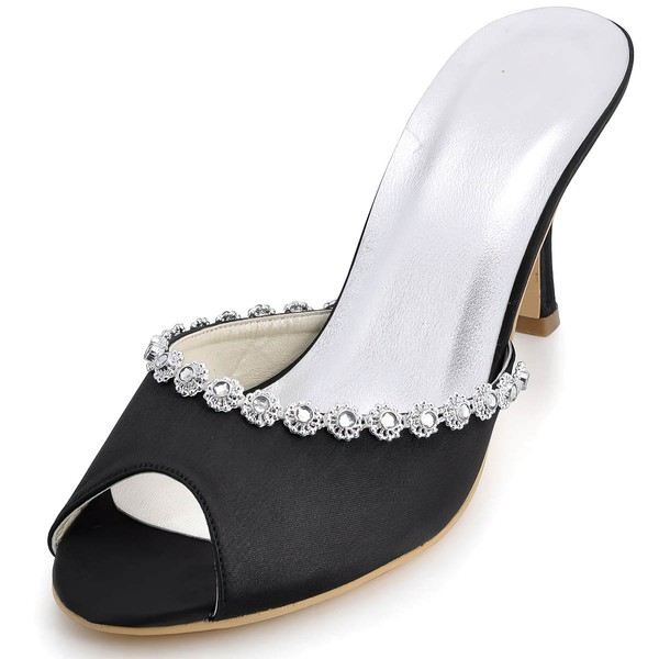 Women's Satin with Crystal Spool Heel Pumps Peep Toe