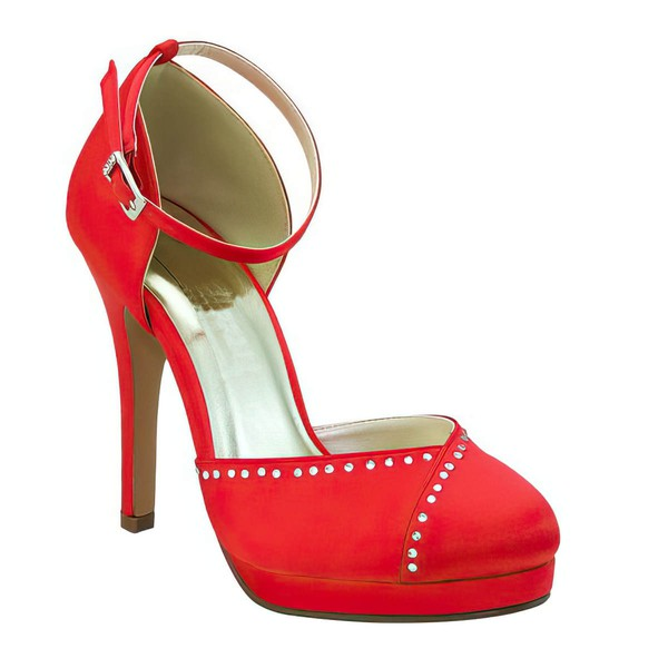 Women's Satin with Buckle Beading Stiletto Heel Pumps Closed Toe Platform #LDB03030048