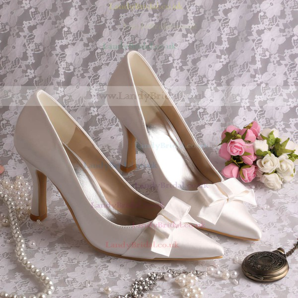 Women's Satin with Bowknot Stiletto Heel Pumps Closed Toe