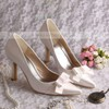 Women's Satin with Bowknot Stiletto Heel Pumps Closed Toe #LDB03030049