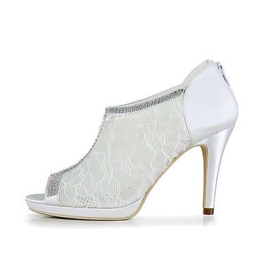 Women's Lace with Zipper Crystal Stiletto Heel Pumps Peep Toe Platform #LDB03030050