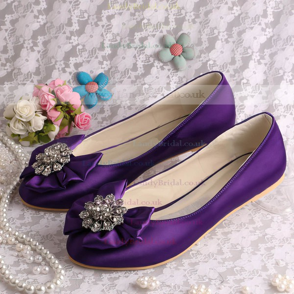 Women's Satin with Crystal Satin Flower Flat Heel Flats