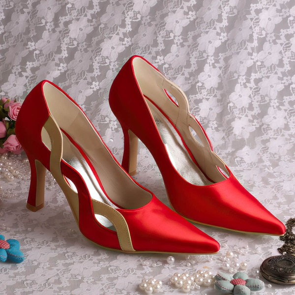 Women's Satin   Spool Heel Pumps Closed Toe #LDB03030052