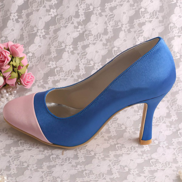 Women's Satin   Spool Heel Pumps Closed Toe #LDB03030053