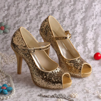 Women's Sparkling Glitter with Buckle Stiletto Heel Pumps Peep Toe #LDB03030054