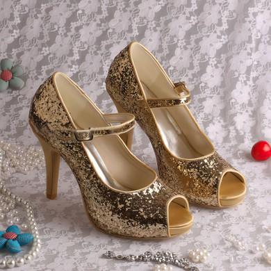 Women's Sparkling Glitter with Buckle Stiletto Heel Pumps Peep Toe #LDB03030054
