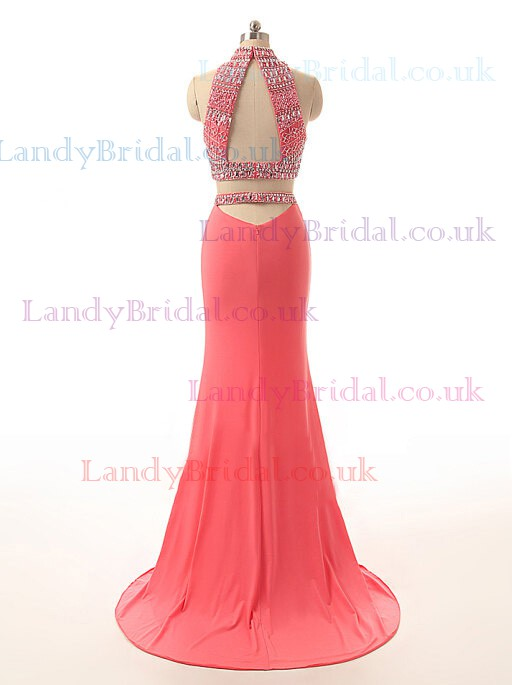 Watermelon Two Piece Chiffon Beading Latest Trumpet/Mermaid High Neck Prom Dresses #LDB02017775
